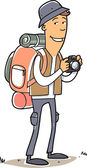 Man with tourist bag, hat and camera — Stock Vector