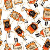 Whiskey bottles endless background — Stock Vector
