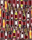 Wine bottles seamless pattern — Stock Vector