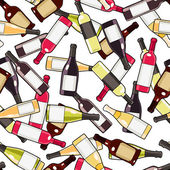 Wine bottles seamless pattern — Stock Vector