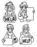 Homeless with help sign. — Stock Vector