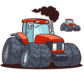 Big red tractor — Stock Vector