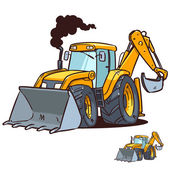 Bulldozer and excavator — Stock Vector