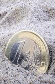 Euro in sand — Stock Photo