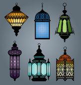 Set of arabic lantern part 1 — Stock Vector