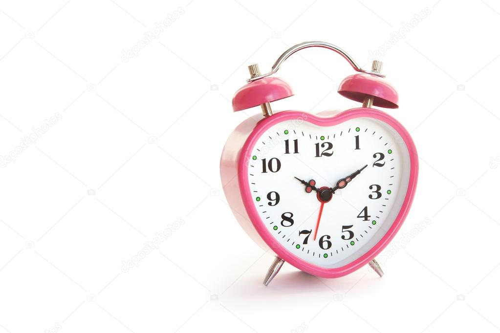 Pink alarm clock in the form of heart isolated on white background cut out — Stock Photo #18942849