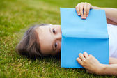 Girl on the grass — Stock Photo