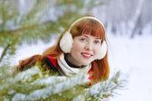 Redhead winter woman — Stock Photo