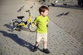 Boy with bike — Stock Photo