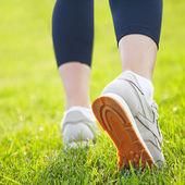 Athlete legs closeup — Stock Photo
