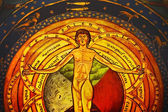 Gothic fresco of the last judgement — Stockfoto