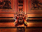 The daemon face from the medieval wood carving — Stock Photo