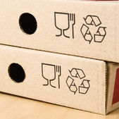 Two boxes of pizza with the recycling symbol. — Stock Photo