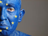 Man face painted with the flag of European Union 2 — Stock Photo