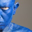 Face man painted of blue color — Stock Photo #13212078