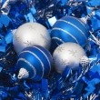 Four christmas balls — Stock Photo