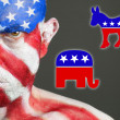 Man face flag USA. Republican and democrat symbols — Стоковая фотография