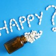 "Word ""happy"" written whith pills — Stock Photo"