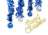 Four christmas balls and merry christmas — Stock Photo