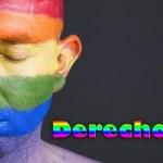 Hombre bandera gay y ojos cerrados. Concepto de derechos. — Stock Photo #17607831