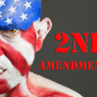 Stock Photo: Mface flag USA, 2nd Amendment, aggressive