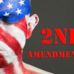 άνθρωπος πρόσωπο σημαία ΗΠΑ, 2η τροπολογία, έκλεισε τα μάτια — Φωτογραφία Αρχείου