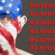 Man face flag of USA. weapons concept — Stock Photo