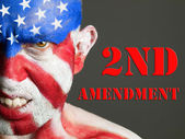 Man face flag USA, 2nd Amendment, aggressive — Stock Photo