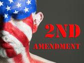 Man face flag USA, 2nd Amendment, closed eyes — Stock Photo