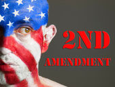 Man face flag USA, 2nd Amendment and expression. — Stock Photo