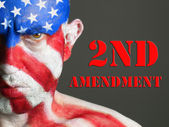 Man face flag USA, 2nd Amendment, serious expression. — Stock Photo