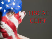 Man face flag of USA, Fiscal cliff — Stock Photo