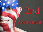 Man face flag USA, 2nd Amendment — Stock Photo