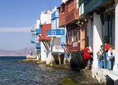 MYKONOS, GREECE-OCTOBER 20: Little Venice in Mykonos, Greece, on — Stock Photo