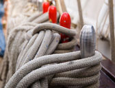 Ropes and belaying pin — Stock Photo