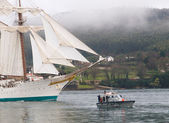 FERROL, SPAIN - FEBRUARY 15: Spanish Navy Training Ship, Juan Se — Стоковое фото