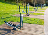 Exercise machines in a public park — Stock Photo