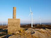 """Geodesic vertex"" in Galicia and wind turbines. — Stock Photo"