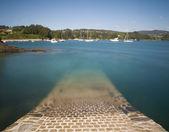 Paysage marin avec longue exposition à la côte espagnole — Photo