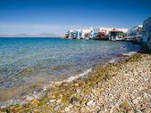Little venice y playa en mykonos — Foto de Stock
