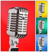 Collage of microphones with different colors — Stock Photo