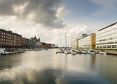Cityscape of Copenhagen with water — ストック写真