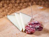 Tapas of Cheese and spanish sausage — Stock Photo
