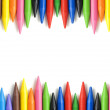Wax crayons frame in square composition — Stock Photo