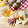 Salami, cheese, bread .Rustic Italian snack — Stockfoto