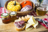 Salami, cheese, bread .Rustic Italian snack — Stock Photo