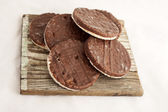 Rice crackers with chocolate — Stock Photo