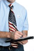 Patriot Voter Takes a Poll — Stock Photo