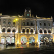 Night view of Rossio station in Lisbon (Portugal) - Stock Photo