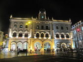 Night view of Rossio station in Lisbon (Portugal) — Stock Photo